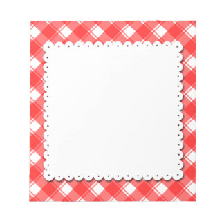 Red White Plaid Pattern Faux Doily Notepad