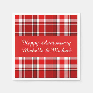 Red White Plaid Tartan | Add Your Name Paper Napkins