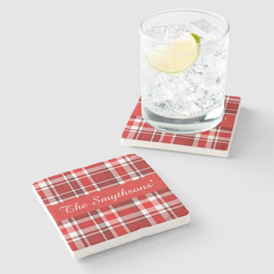 Red White Plaid Tartan | Add Your Name Stone Beverage Coaster