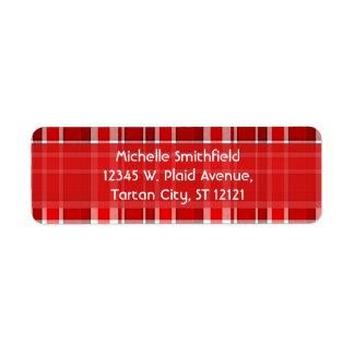 Red White Plaid Tartan Return Address Label