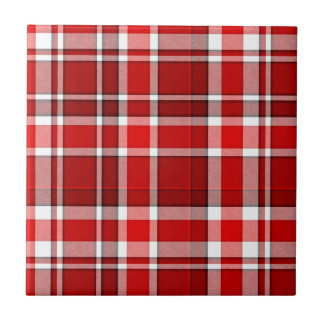 Red White Plaid Tartan Tile