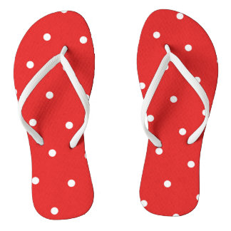 Red/White Polka Dot Flip Flops