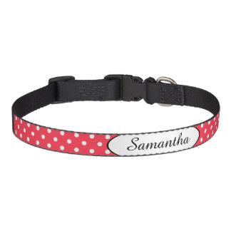 Red White Polka Dot Personalized Pet Collar