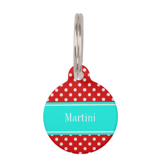 Red White Polka Dots Bright Aqua Name Monogram Pet Tag