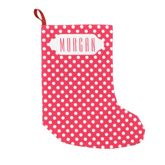 Red & white polka dots custom Christmas stocking
