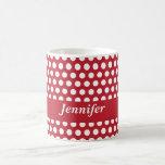 Red & white polka dots custom girls name mug