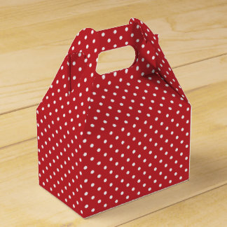 Red & White Polka Dots Gable Gift / Favor Box