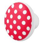 Red & white polka dots knob/drawer pull