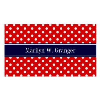 Red White Polka Dots Navy Blue Ribbon Monogram Double-Sided Standard Business Cards (Pack Of 100)