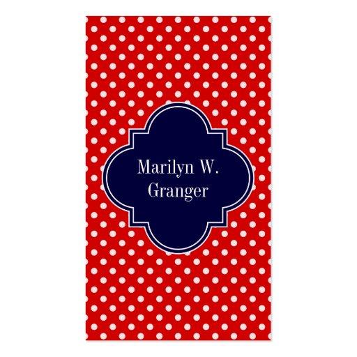 Red White Polka Dots Navy Blue Ribbon Monogram Business Card