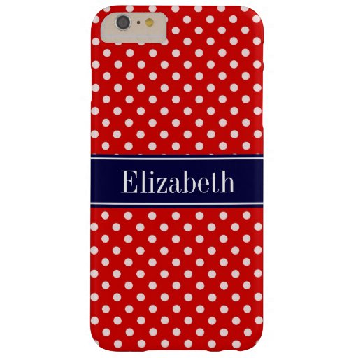 Red White Polka Dots Navy Blue Ribbon Monogram Barely There iPhone 6 Plus Case