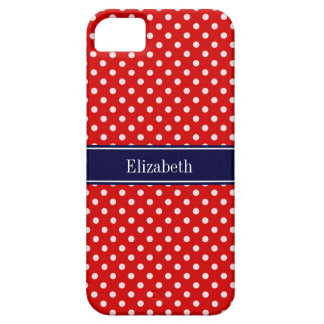 Red White Polka Dots Navy Blue Ribbon Monogram iPhone 5 Cover