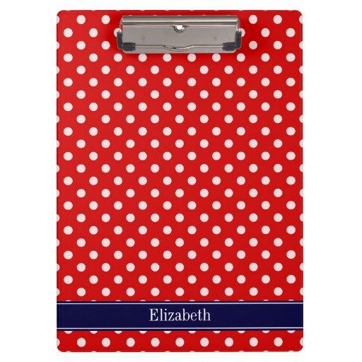Red White Polka Dots Navy Blue Ribbon Monogram Clipboards