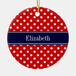 Red White Polka Dots Navy Blue Ribbon Monogram Double-Sided Ceramic Round Christmas Ornament