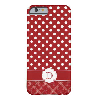 Red White Polka Dots Plaid Monogram Barely There iPhone 6 Case