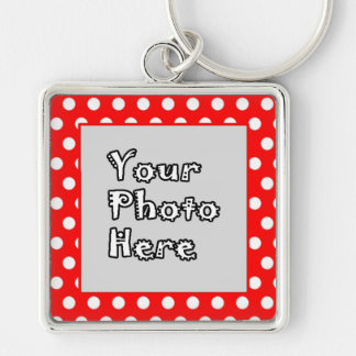 Red & White Polka Dots Silver-Colored Square Keychain