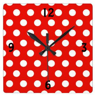 Red White Polka Dots - Wall Clock