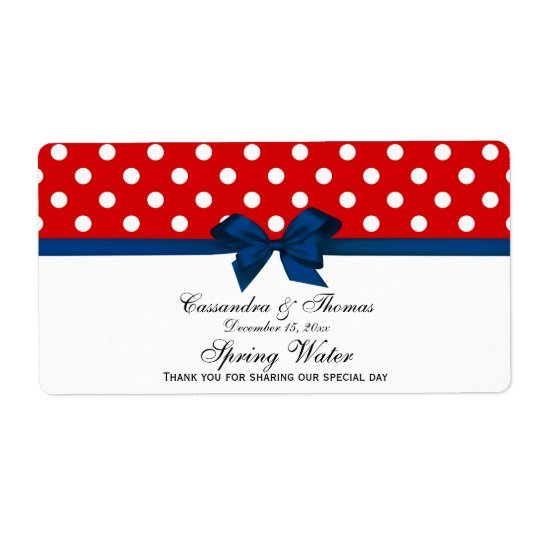 Red, White Polka Dots Water Label, Navy Bow Shipping Label