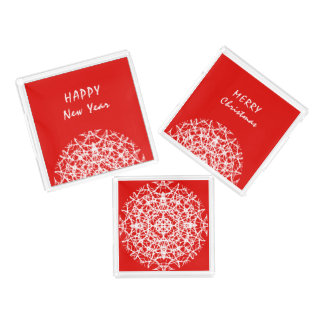 Red | White Pretty Snowflakes Merry Christmas Acrylic Tray