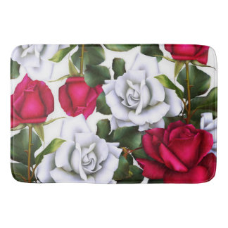 Red & White Roses Shabby Chic Rustic Modern Glam Bath Mat