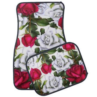 Red & White Roses Shabby Chic Rustic Modern Glam Car Mat