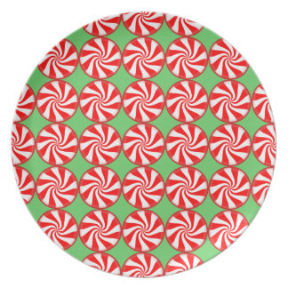 Red White Round Swirl Peppermint Candy Christmas Plate