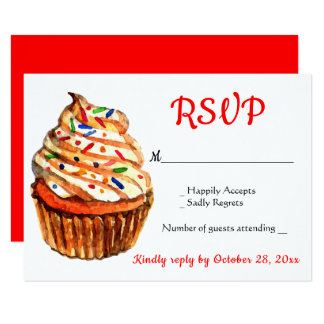 Red & White RSVP Cupcake Wedding Party Card