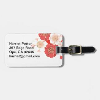 Red & White Sakura Japanese Kimono Luggage Tag