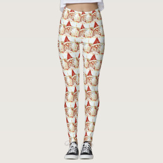 Red & White Santa Stars Patterned Leggings