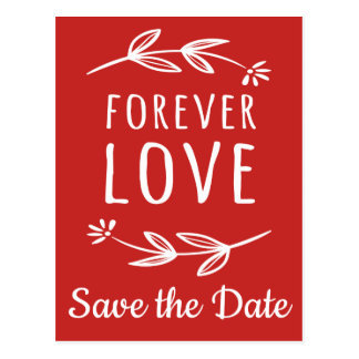 Red & White Save The Date Engagement Laurel Leaf Postcard