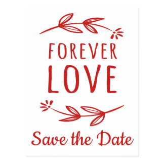 Red & White Save The Date Engagement Laurel Leaves Postcard