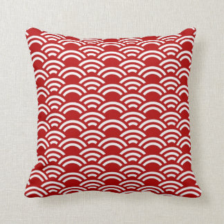 Red White Scallop Pattern Decorative Pillow