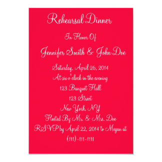 "Red White Script Wedding Rehearsal Dinner Cards 5"" X 7"" Invitation Card"