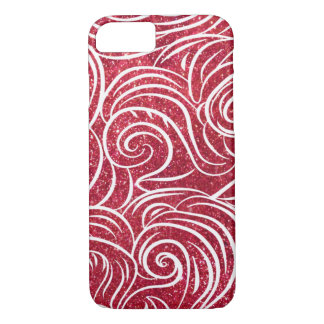 Red, White Shiny Glitter with Ocean Waves iPhone 7 Case
