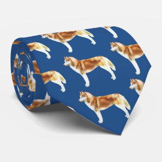 Red & White Siberian Husky Neck Tie