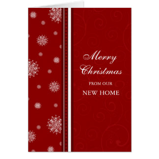 Red White Snow New Address Christmas Card