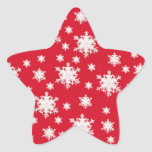 Red & White Snowflake Design Stickers