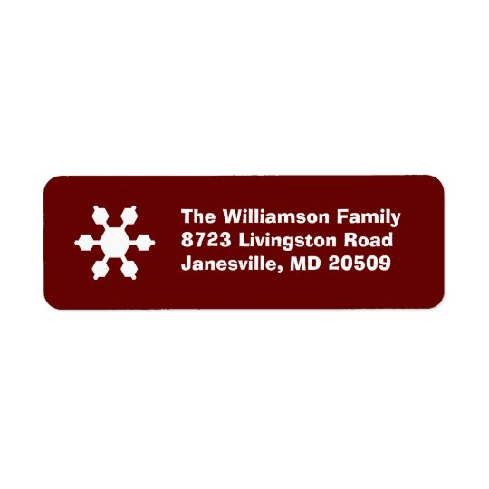 Red & White Snowflake Return Address Labels