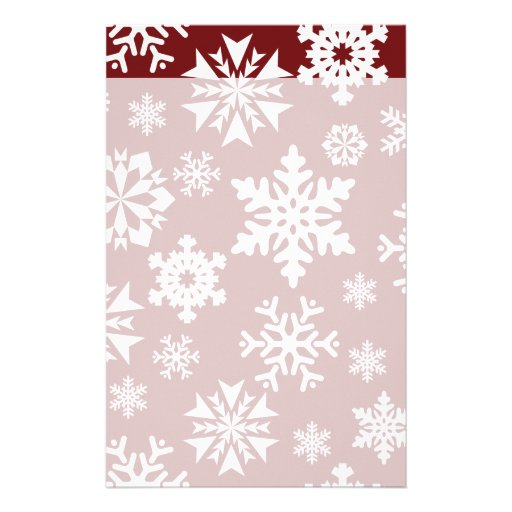 Red White Snowflakes Christmas Holiday Pattern Stationery Paper