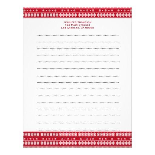 Red white snowflakes Christmas pattern Custom Letterhead