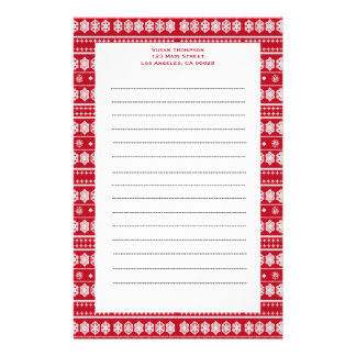 Red white Snowflakes pattern Personalized Stationery