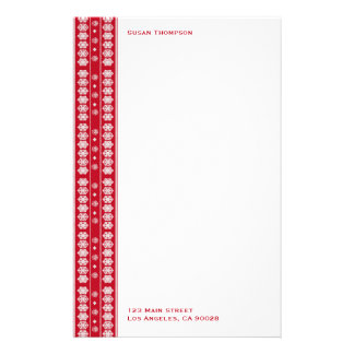 Red white Snowflakes pattern Stationery Paper