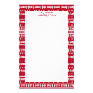 Red white Snowflakes pattern Stationery Design
