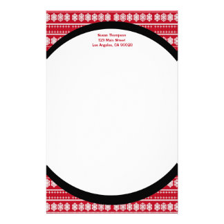 Red white Snowflakes pattern Stationery