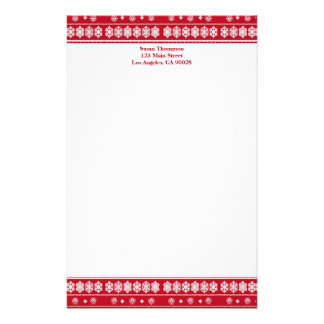 Red white Snowflakes pattern Custom Stationery
