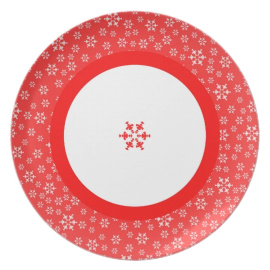 Red & White Snowflakes Plate