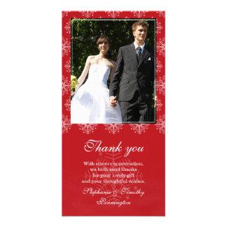 Red + white snowflakes wedding thank you photo card