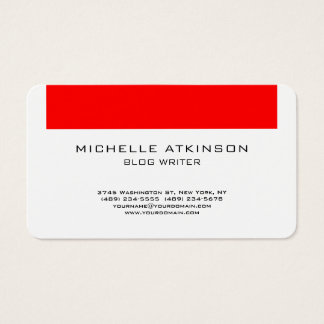 Red White Social Media Blog Writer Internet Web Business Card