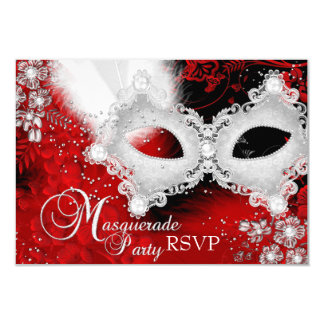 "Red White Sparkle Mask Masquerade Party RSVP 3.5"" X 5"" Invitation Card"