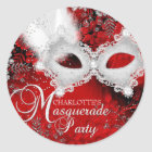 Red White Sparkle Mask Masquerade Party Sticker